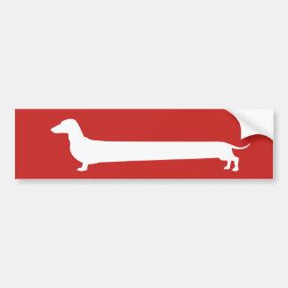 Red and white Dachshund bumper sticker