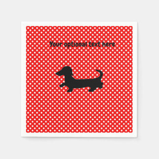 Red and White Dachshund Paper Party Napkins