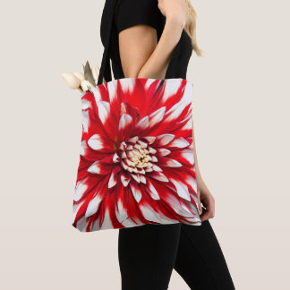 Red and White Dahlia Floral Tote Bag