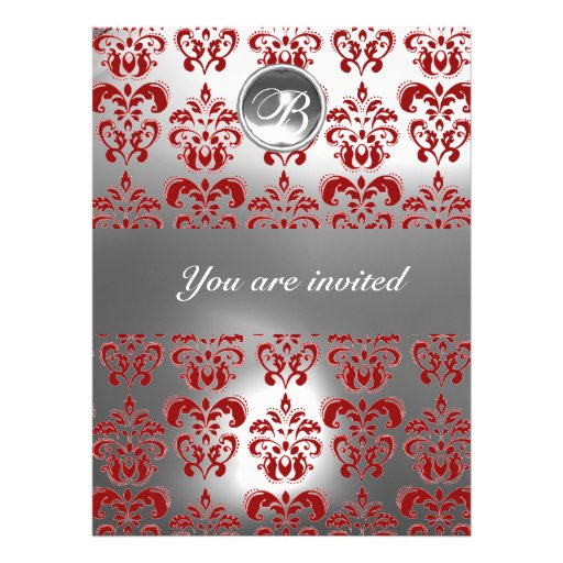RED AND WHITE DAMASK GEM STONE MONOGRAM ANNOUNCEMENT