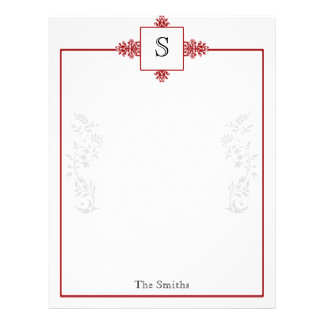 Red and White Damask Letterhead