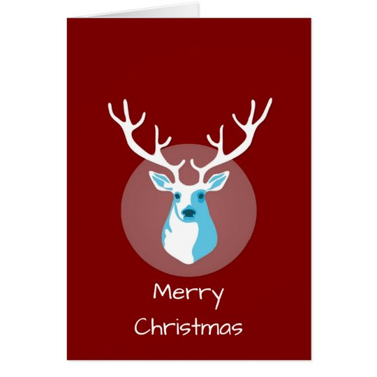 Red And White Deer Merry Christmas Card