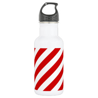 Red and White Diagonal Stripes Pattern 532 Ml Water Bottle