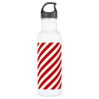 Red and White Diagonal Stripes Pattern 710 Ml Water Bottle