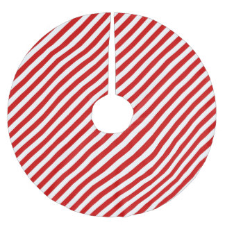 Red and White Diagonal Stripes Pattern Brushed Polyester Tree Skirt