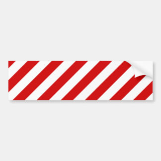 Red and White Diagonal Stripes Pattern Bumper Sticker