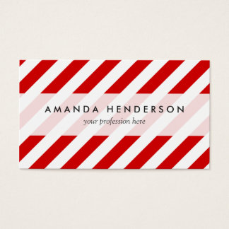 Red and White Diagonal Stripes Pattern Business Card