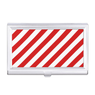 Red and White Diagonal Stripes Pattern Case For Business Cards