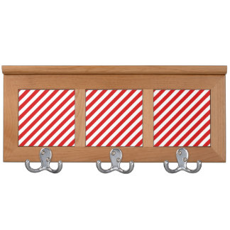 Red and White Diagonal Stripes Pattern Coat Rack