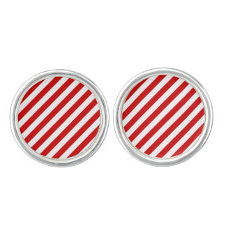 Red and White Diagonal Stripes Pattern Cufflinks