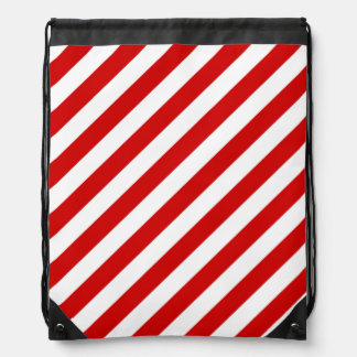 Red and White Diagonal Stripes Pattern Drawstring Bag