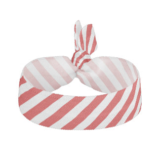 Red and White Diagonal Stripes Pattern Hair Tie