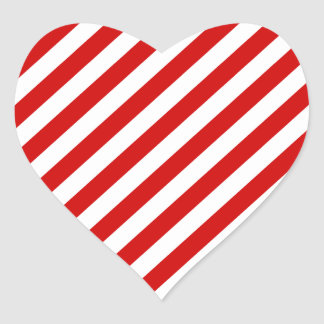 Red and White Diagonal Stripes Pattern Heart Sticker