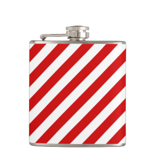 Red and White Diagonal Stripes Pattern Hip Flask