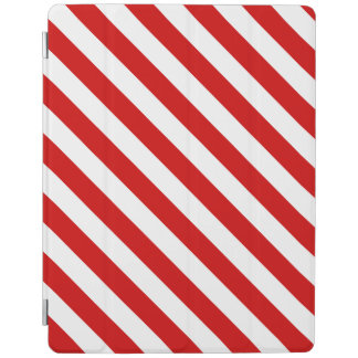 Red and White Diagonal Stripes Pattern iPad Cover
