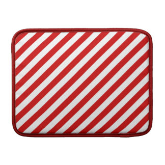 Red and White Diagonal Stripes Pattern MacBook Sleeve