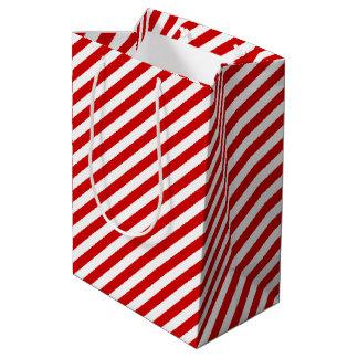 Red and White Diagonal Stripes Pattern Medium Gift Bag
