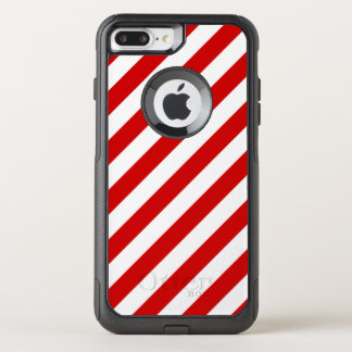 Red and White Diagonal Stripes Pattern OtterBox Commuter iPhone 8 Plus/7 Plus Case