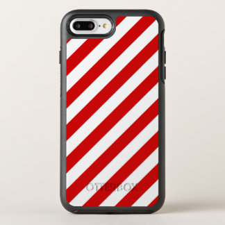 Red and White Diagonal Stripes Pattern OtterBox Symmetry iPhone 8 Plus/7 Plus Case