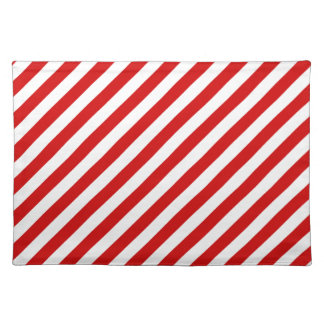 Red and White Diagonal Stripes Pattern Placemat