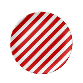 Red and White Diagonal Stripes Pattern Plate