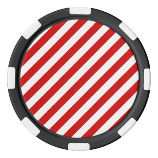 Red and White Diagonal Stripes Pattern Poker Chips