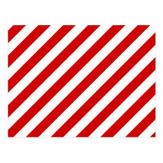 Red and White Diagonal Stripes Pattern Postcard