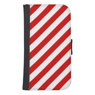 Red and White Diagonal Stripes Pattern Samsung S4 Wallet Case