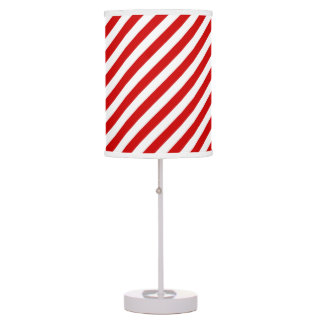 Red and White Diagonal Stripes Pattern Table Lamp