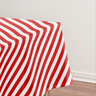 Red and White Diagonal Stripes Pattern Tablecloth