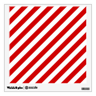 Red and White Diagonal Stripes Pattern Wall Sticker