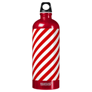 Red and White Diagonal Stripes Pattern Water Bottle