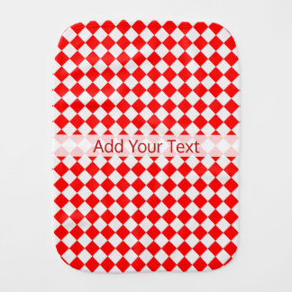 Red And White Diamond Pattern by ShirleyTaylor Burp Cloth