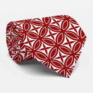 Red and White Diamond Pattern Tie