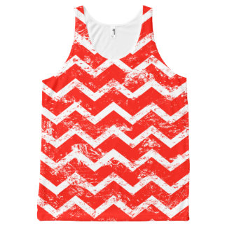 Red and white distressed chevron All-Over-Print tank top