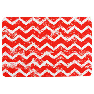 Red and white distressed chevron floor mat