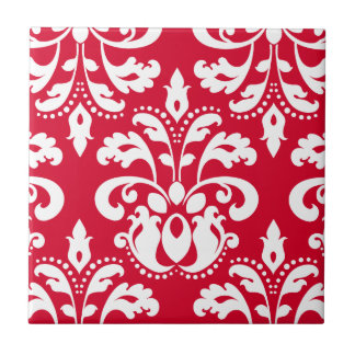 Red and white elegant Christmas damask Ceramic Tile