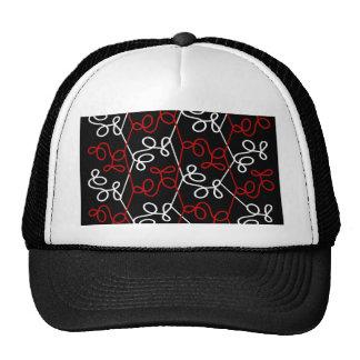 Red and white elegant pattern trucker hat