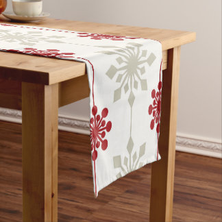 Red and White Elegant Snowflake Christmas Pattern Short Table Runner