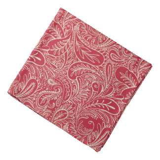 Red and White Faux Denim Paisley Bandana