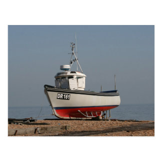 Red and white fishing boat postcard