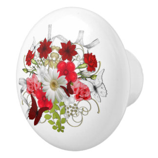 Red and White Floral Bouquet Ceramic Knob