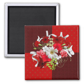 Red and White Floral Bouquet Square Magnet