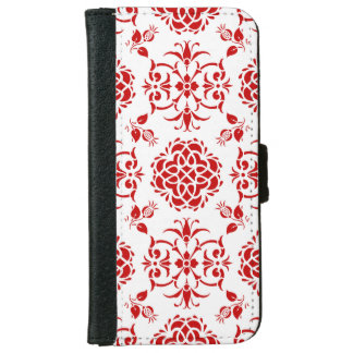 Red and White Floral Damask Style Pattern iPhone 6 Wallet Case