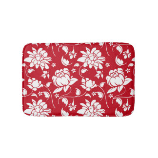 Red And White Floral Damasks Pattern Bath Mat