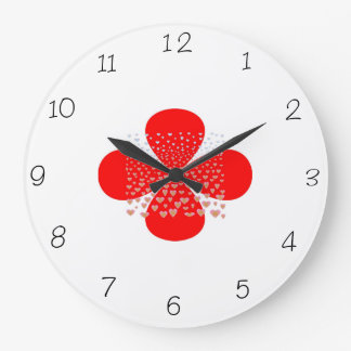 Red and White> Flower Kitchen Clocks