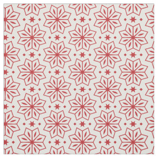 Red and White Flower Star Pattern Print Fabric