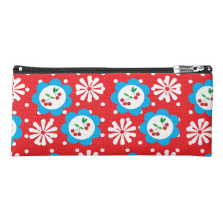 Red and White Flowers + Cherries Pencil Bag