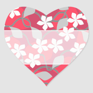 Red and White Flowers. Floral Pattern. Heart Sticker