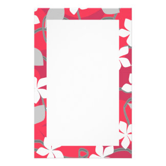 Red and White Flowers Floral Pattern Custom Stationery
